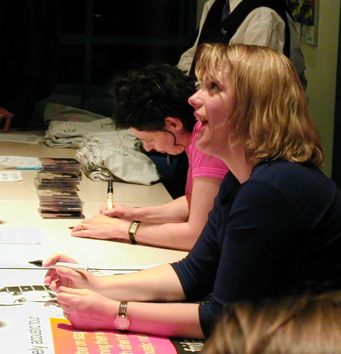 Deborah and Rebecca signing stuff